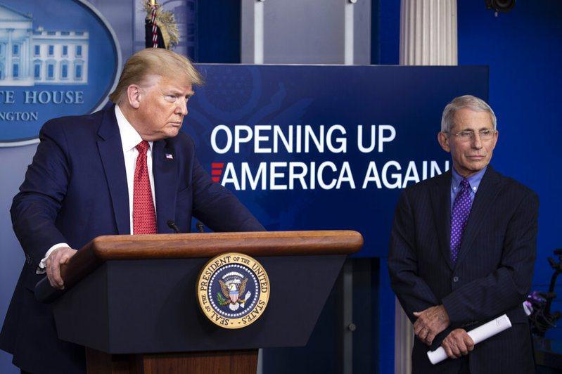 川普與佛奇(右)的意見相左。 圖/美聯社