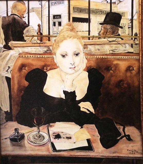 《咖啡廳》1949年,巴黎近代美術館藏。 圖/作者翻攝自《別冊太陽 藤田嗣治》