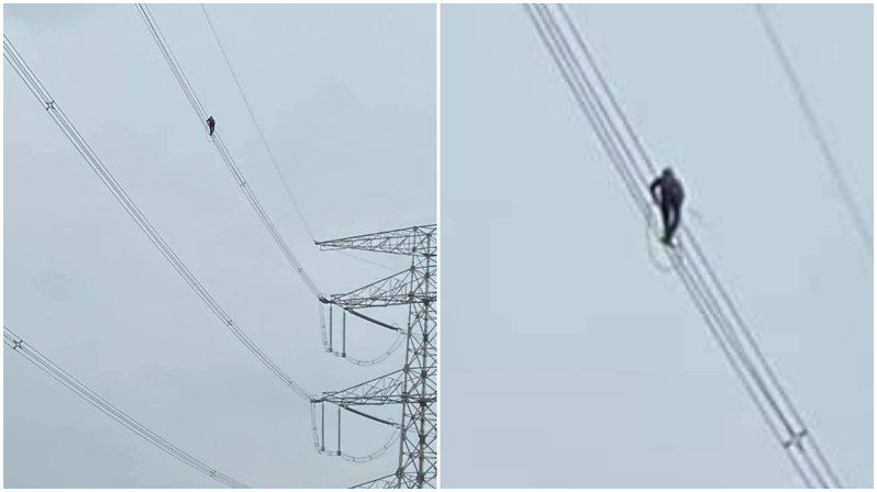 高壓電線上有個黑影,乍看之下就像鳥類,但仔細一看停留在上面的竟是一名工程人員。圖擷自爆廢公社二館