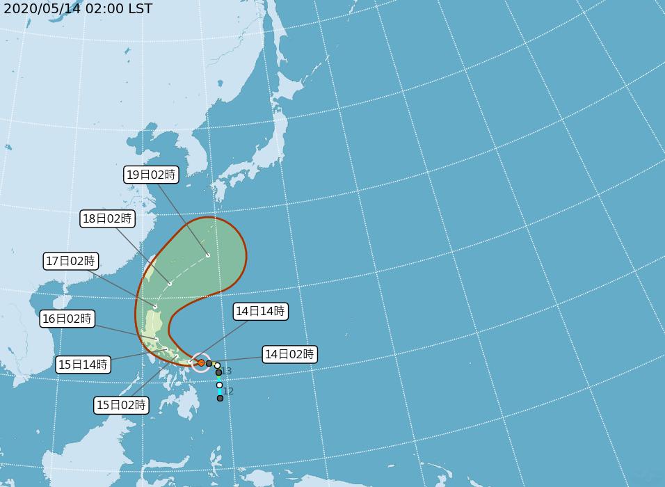 中颱黃蜂未來在呂宋島附近向北迴轉,進入巴士海峽,向東北加速離去。氣象局潛勢預測圖...
