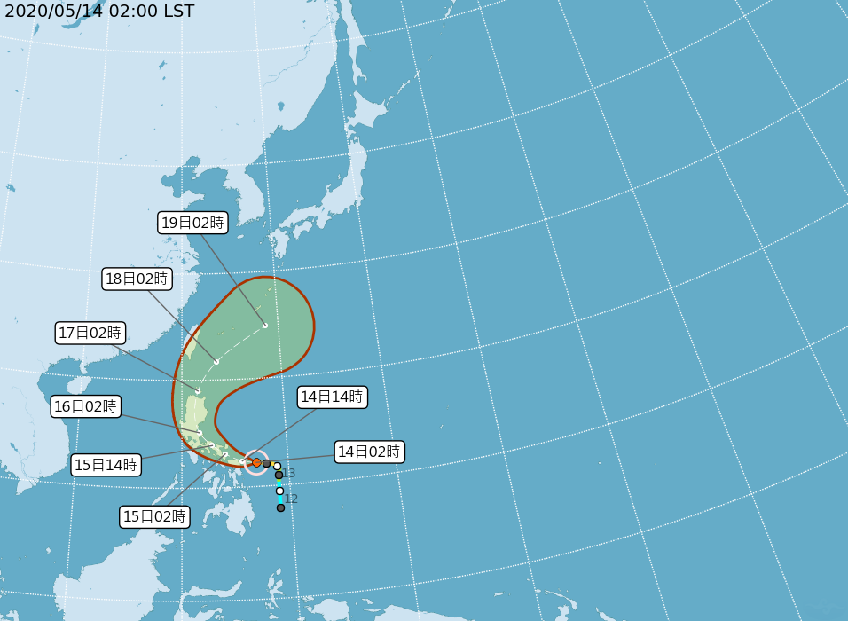 中度颱風黃蜂今天凌晨2時的中心位置在鵝鑾鼻南南東方1290公里的海面上,向西轉西...