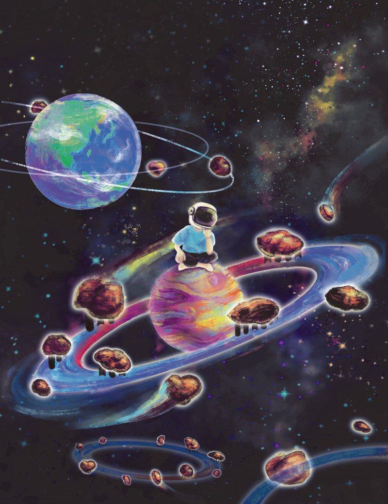 中研院基因體研究中心研究員莊樹諄研究團隊論文封面,靈感來自於紀錄片「遙遠星球的孩子」,就像自閉症孩子待在自己的星球上。繪圖者徐維駿 。圖/中研院提供