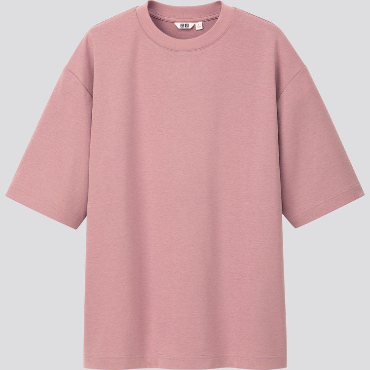 AIRism棉質紫色寬版圓領T恤590元。圖/UNIQLO提供