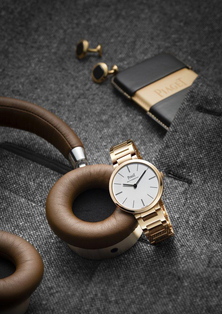 以18K玫瑰金打造表殼與表帶的PIAGET Altiplano腕表,外型簡約摩登...