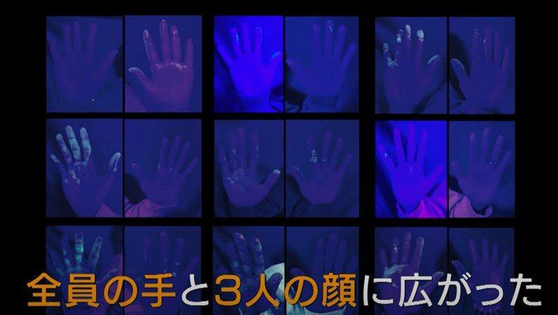 NHK做實驗模擬病毒在自助餐廳的傳播狀況,結果短短30分鐘,10位受試者的手上便全部沾上病毒(螢光部分)。圖擷自NHK Lipei Huang