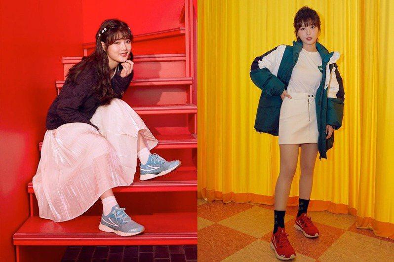 國民妹妹金裕貞示範FILA RGB跑鞋穿搭,凸顯了鞋款的百變與時髦特性。圖/FILA Korea提供