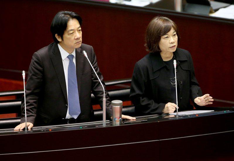 國發會主委陳美伶(右)被視為準副總統賴清德(左)人馬。圖/聯合報系資料照片