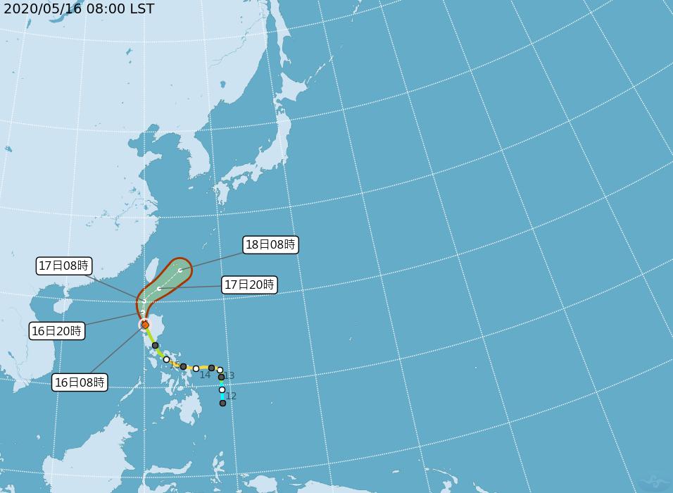 黃蜂颱風路徑潛勢預報。圖/氣象局提供