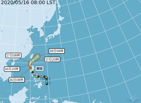 黃蜂颱風今天上午8時的中心位置在北緯17.3度,東經120.1度,以每小時14公里速度,向北北西進行。圖/擷取自中央氣象局網站