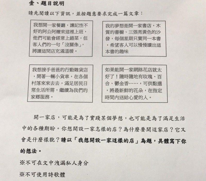 今年會考國文寫作題目為「我想開設一家這樣的店」。圖/翻攝自教育部提供資料