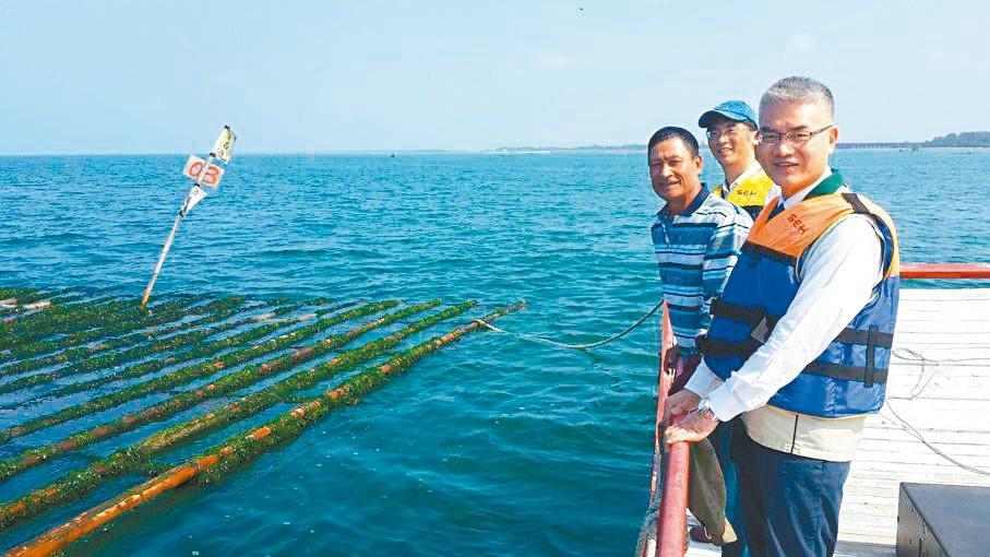 台南市農業局長謝耀清(前)日前搭船到安平港外海,了解淺海牡犡養殖棚架問題。 圖/台南市農業局提供