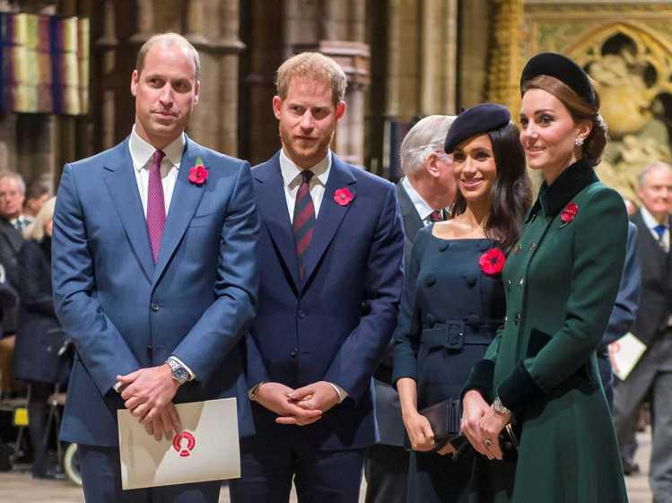 威廉(左起)、哈利開始恢復通話,梅根、凱特都鬆了口氣。圖/路透資料照片