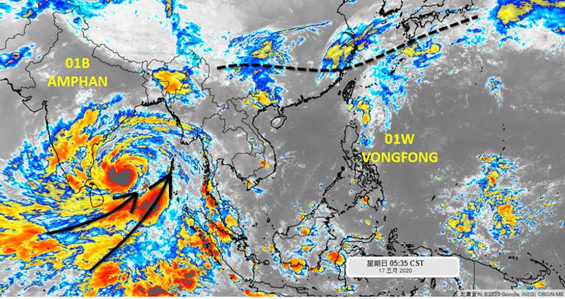 吳聖宇說,印度洋孟加拉灣的熱帶氣旋01B-AMPHAN卻在快速成長中,預估將發展為強度甚強的系統。圖/取自「天氣職人-吳聖宇」臉書粉絲專頁