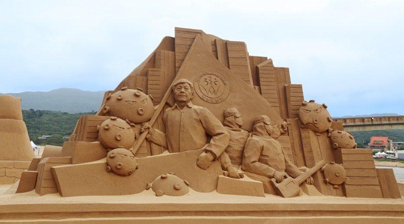 2020福隆沙雕藝術季即將開幕,主辦單位特別推出防疫國家隊沙雕應景,指揮官陳時中沙雕像成焦點。記者邱瑞杰/翻攝