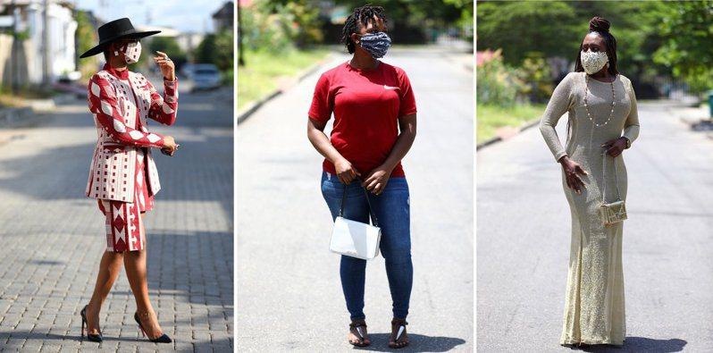 隨著政府下達命令,奈及利亞首都拉哥斯街頭許多女性及學生會挑選口罩花色搭配自己的服裝。取自路透