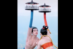 影/陸新景點「飛天之吻」 男女天仙遭批:打光變妖魔鬼怪?