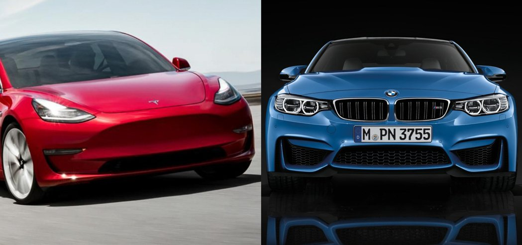 Tesla Model 3(左)BMW M3(右)。 摘自Tesla、BMW