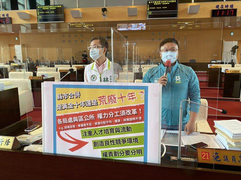 台中市議員施志昌(右)與林祈烽表示,台中市的區公所與市府局處,分工權責存在不少問題。圖/施志昌提供