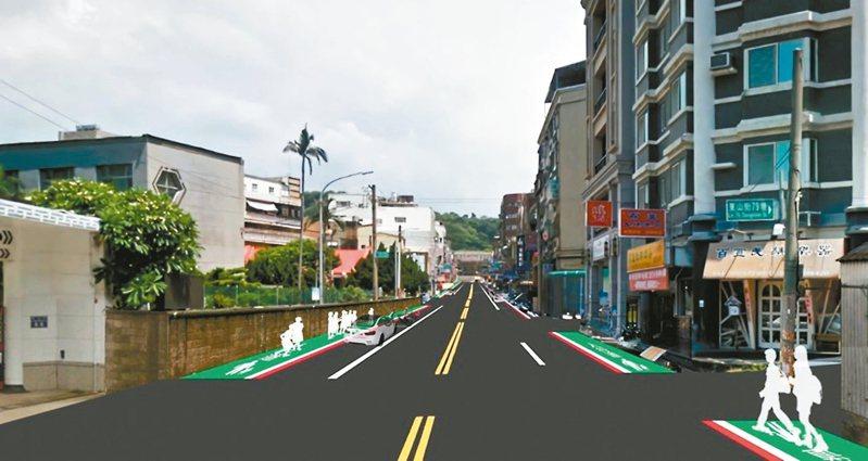新竹市東山街通勤道路工程,將增設人行道,完工後可改善人車流秩序。 示意圖/新竹市政府提供