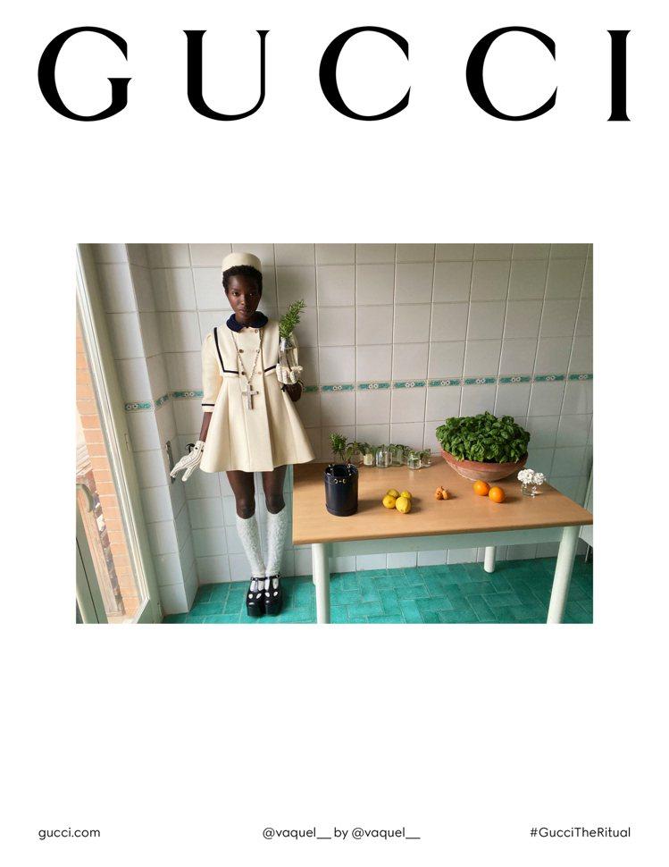 GUCCI推出秋冬形象企劃,把衣服和包包、相關配件等單品寄送到模特兒的家,讓模特...