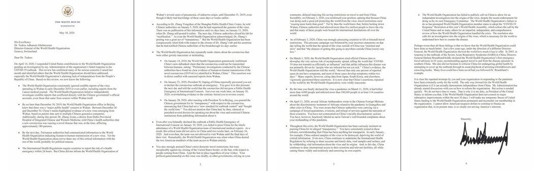 4頁的白宮控訴信內容中,美國政府對於WHO的主要控訴,只有一項:「WHO的防疫警...