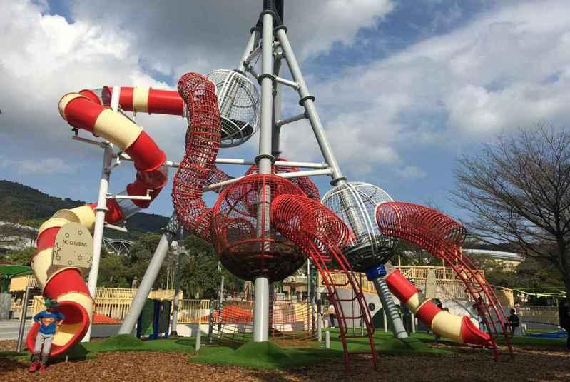 天母運動公園變成夢想樂園,設置具有地方特色的遊具。 圖片來源:台北市政府體育局