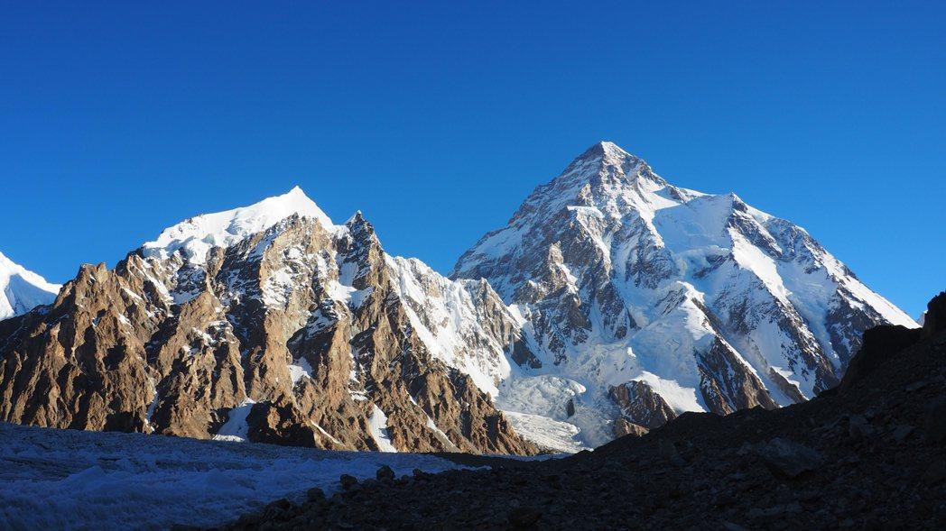 從布羅德基地營往K2方向拍攝。 圖/呂忠翰、張元植、陳德政提供