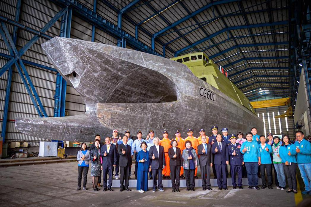 2019年12月6日,安平艦由蔡英文總統主持命名儀式。 圖/海巡署長室臉書