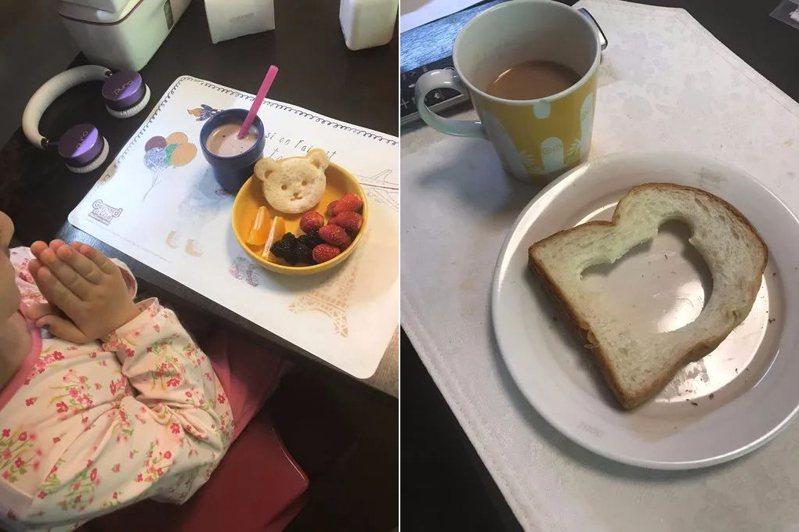 一名女網友PO出幫女兒和老公做的早餐對比照,差異之大讓網友們看了都笑翻。 圖/翻攝自「爆廢公社」