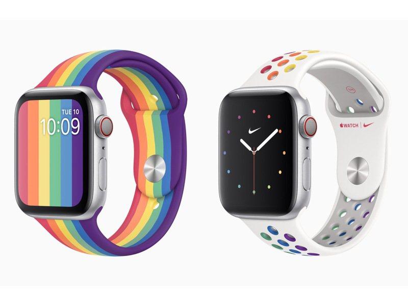 全新Apple Watch彩虹版運動型表帶含有獨特的垂直條紋彩虹,Nike運動型表帶也以彩虹色重新設計。圖/蘋果提供