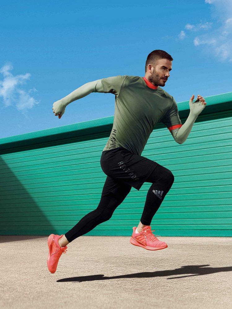 大衛貝克漢詮釋HEAT.RDY凍涼機能衣1,490元、CLIMACOOL跑鞋3,...