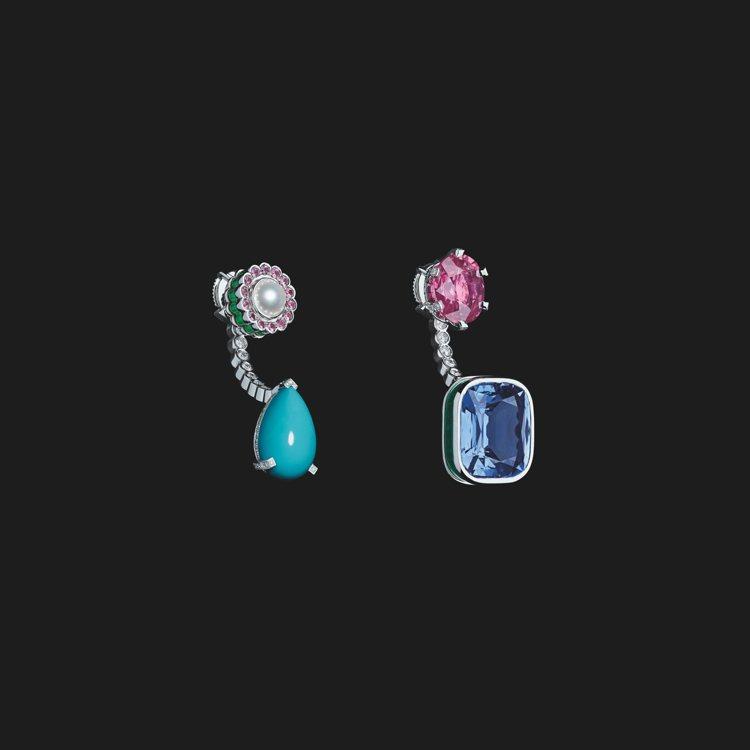 DIOR ET MOI TRIBALES藍寶石與綠松石不對稱耳環,830萬元。圖...