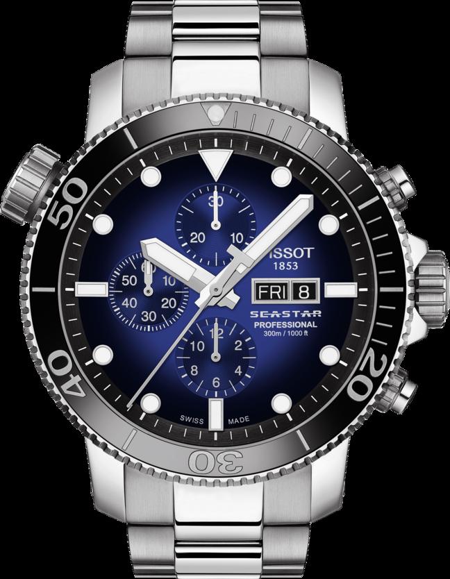 天梭表Seastar 1000專業版計時碼表,不鏽鋼表殼、表鍊,搭配黑色陶瓷表圈...