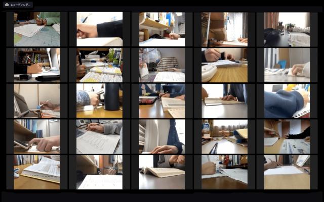 日本一家補習機構利用視訊會議軟體為待在家裡的學生開立「網路自習室」。圖/Sensei Place提供