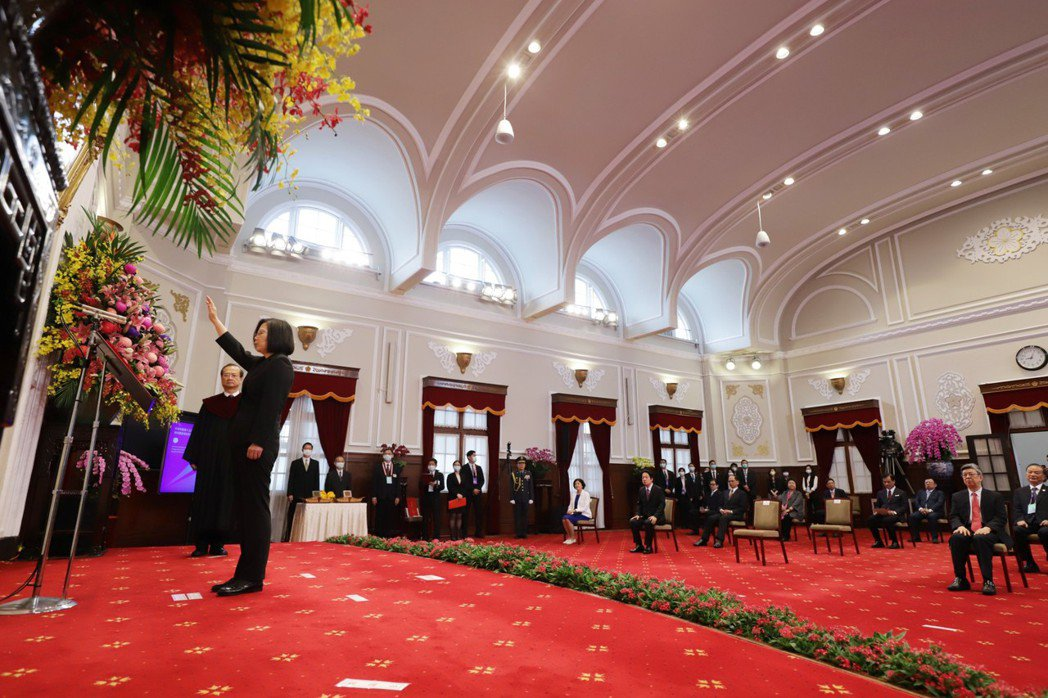 第15任總統、副總統宣誓就職典禮20日上午9時在總統府大禮堂舉行,在大法官許宗力...