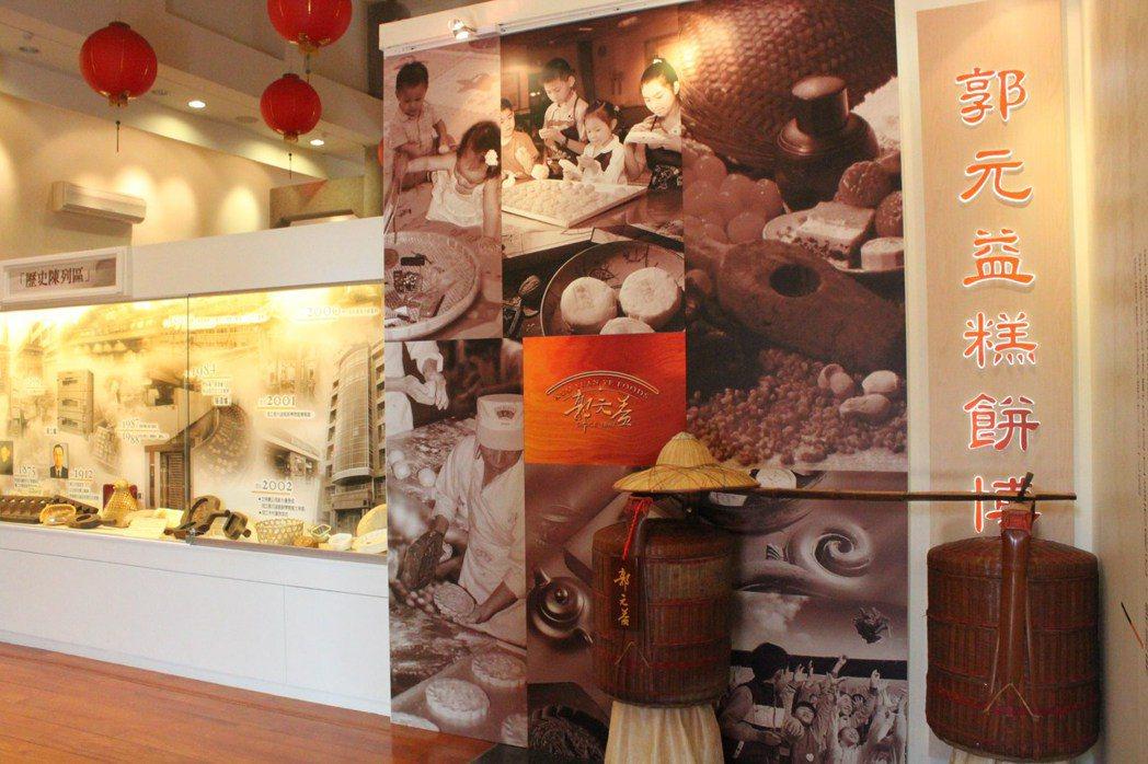 郭元益糕餅博物館的入口處,一根老舊的扁擔展開百年糕餅傳奇。 圖/楊德宜 攝影