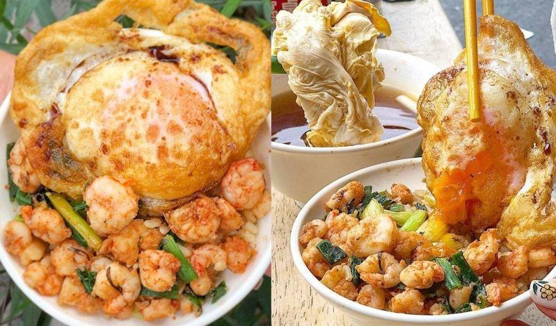 部落客帶路吃台南集品蝦仁飯(圖片為加蝦版本)。圖/FB/Blog: 舞食旅台灣。amos的走跳日常、IG@amos0716 提供