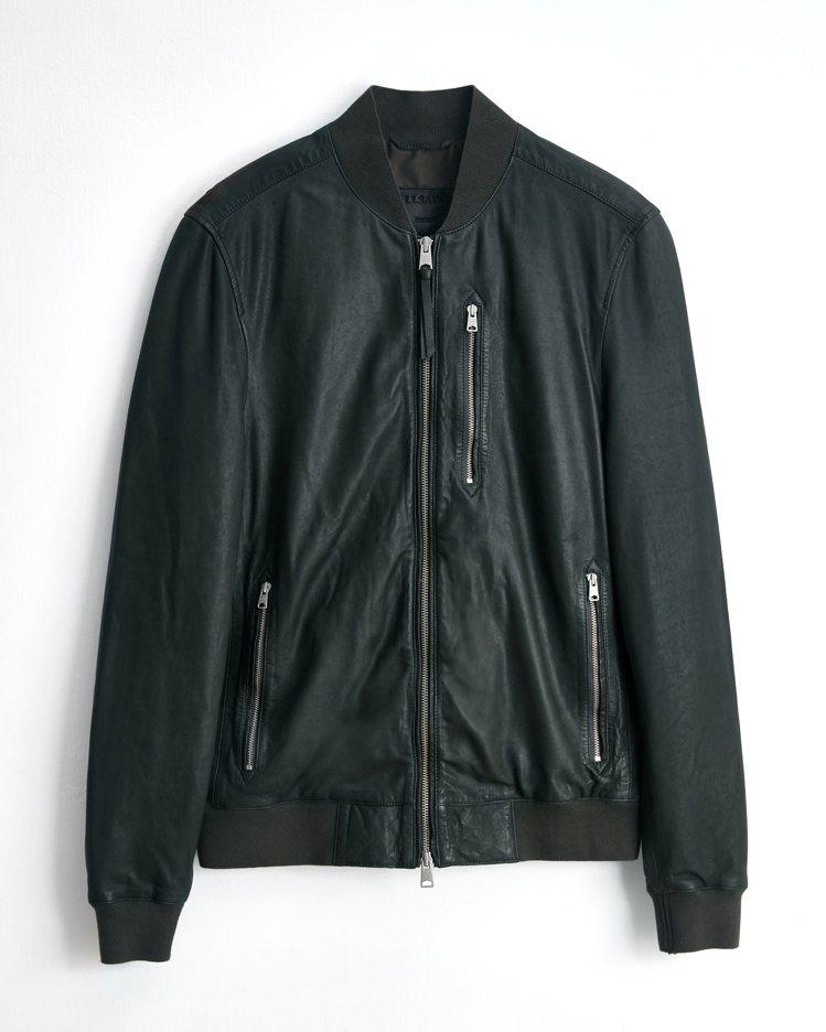 金高銀同款AllSaints Kino深灰色皮革飛行夾克17,900元。圖/Al...