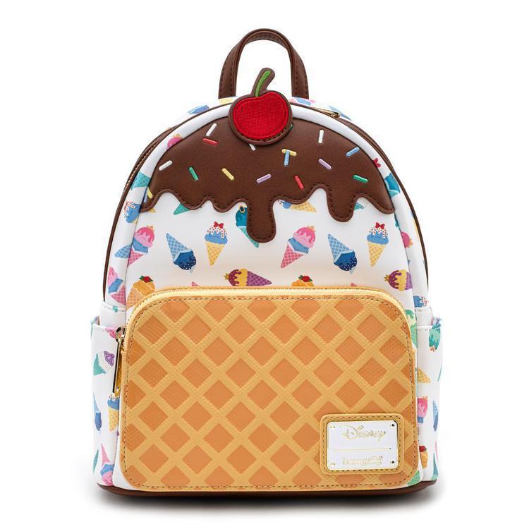 美國品牌Loungefly與迪士尼聯名推出公主冰淇淋印花包款,點綴甜筒餅乾和櫻桃...