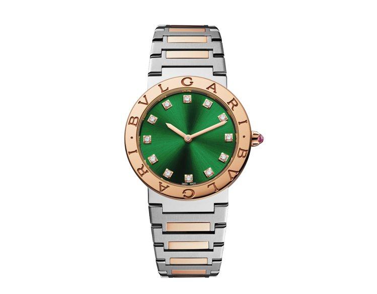 寶格麗BVLGARI BVLGARI精鋼與玫瑰金腕表,29萬5,700元。圖/寶...
