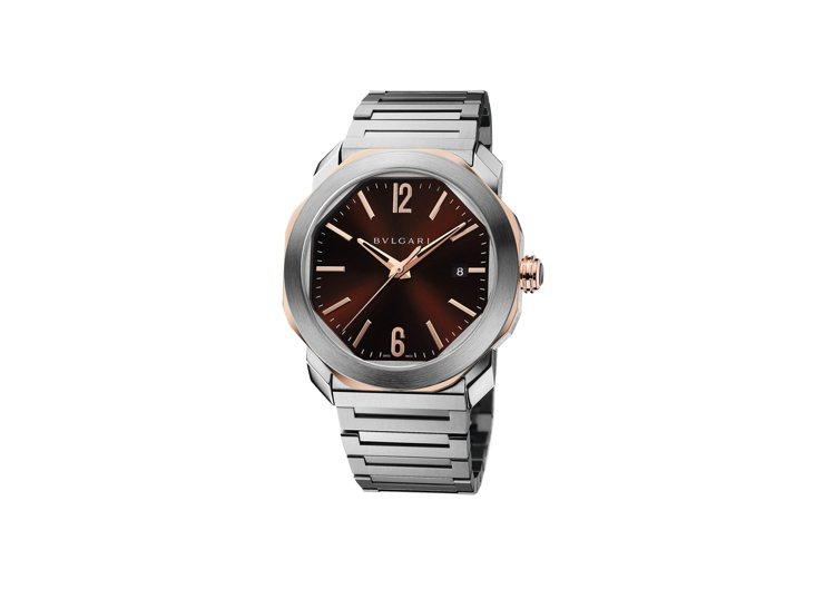 寶格麗BVLGARI OCTO ROMA精鋼與玫瑰金腕表,價格店洽。圖/寶格麗提...