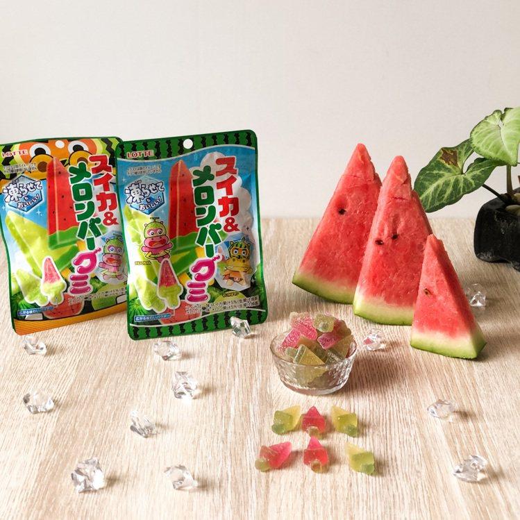 樂天西瓜哈密瓜風味軟糖,可愛冰棒造型,主打冰凍後一樣好吃,享受夏季冰冰涼涼軟糖新...