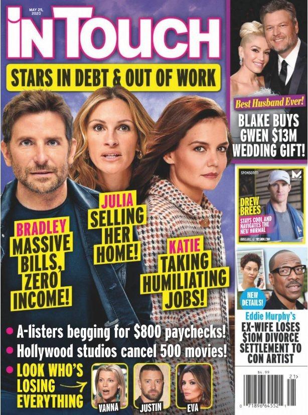 八卦雜誌封面報導點名布萊德利庫柏(左起)、茱莉亞羅勃茲、凱蒂荷姆絲財務出現困難,