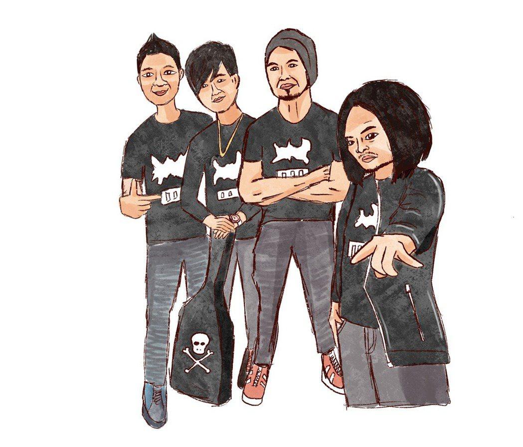 社團移工,最常穿黑色團服。插畫/江婉琦。