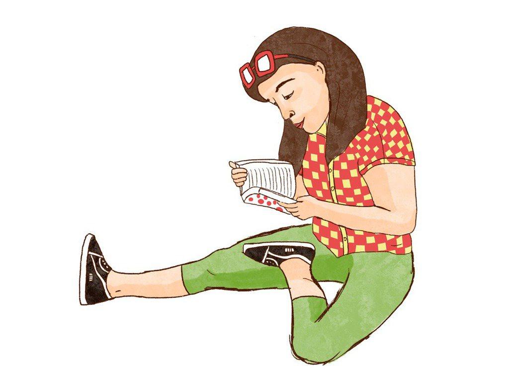 看書移工,最常看言情小說和伊斯蘭宗教書。插畫/江婉琦。