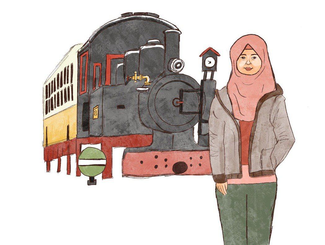 跟死掉的火車拍照的移工,台北車站的火車像是必來打卡點。插畫/江婉琦。