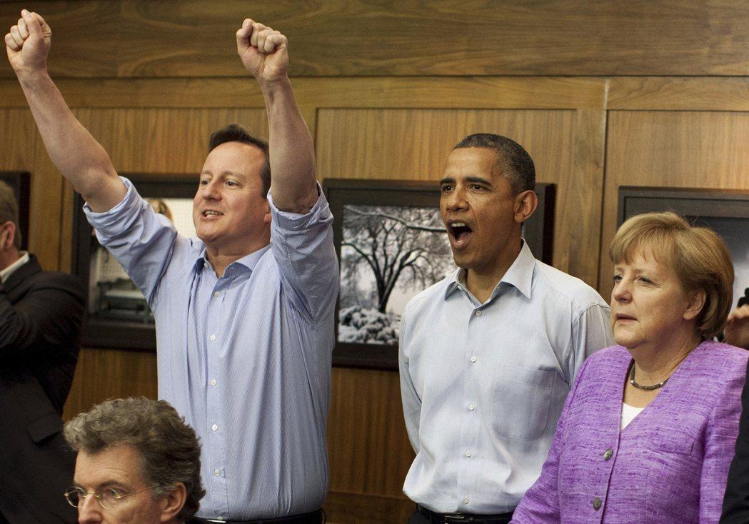 2012年G8高峰會,大家暫停會議一起看足球的歐冠決賽。 圖/路透社