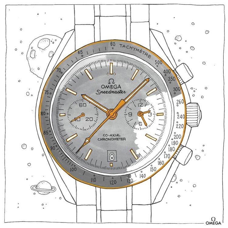 經典的OMEGA超霸登月計時碼表,想畫什麼顏色?自己隨性決定。圖 / 翻攝自OM...