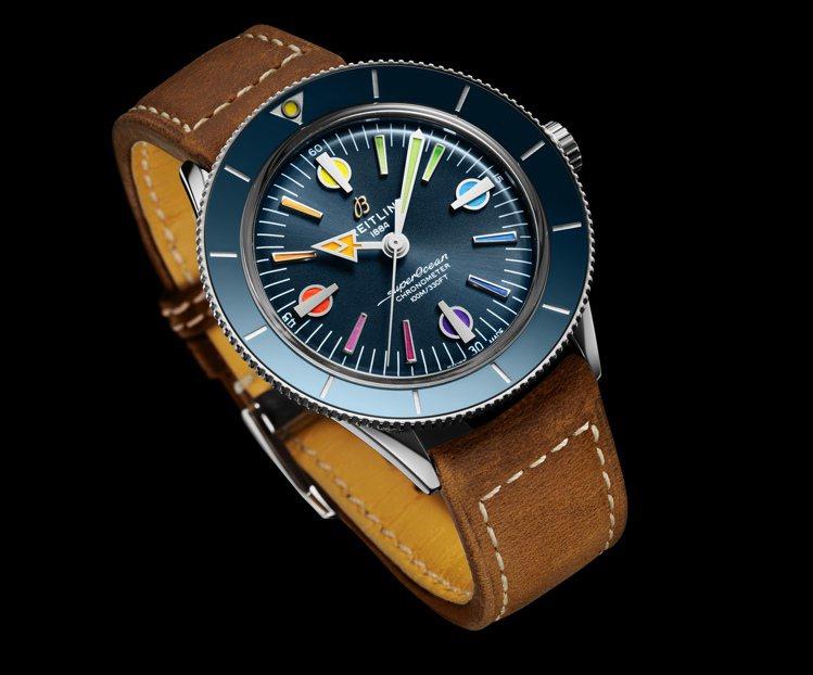 藍色表面的特殊款Superocean '57超級海洋腕表,皮帶款13萬4,000...