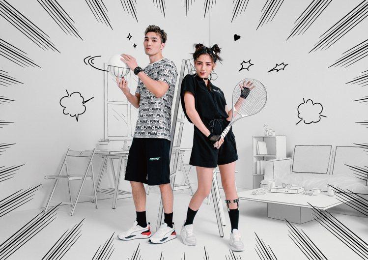 為了PUMA X-RAY鞋款的推出,品牌特意找來黃偉晉(左)和Dora謝雨芝一同...